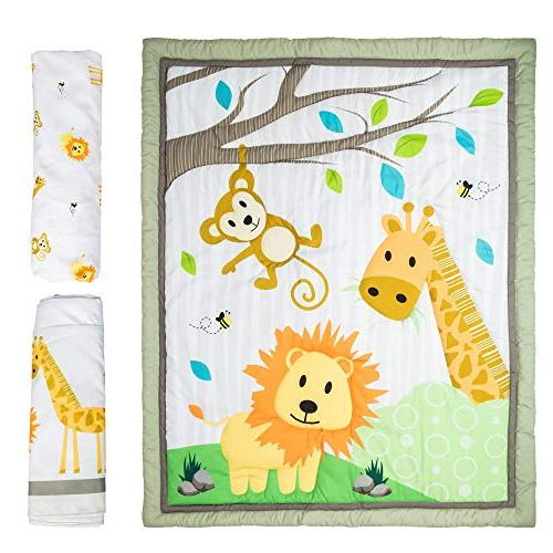 Cocoon Luxurious Zoo Crib Bedding Gender-Neutral Jungle 3-PC Nursery with Fitted Skirt