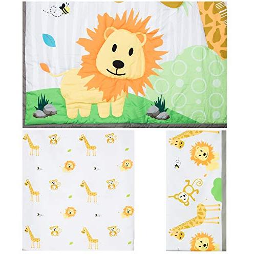 Cocoon Luxurious Baby Crib Set Boys   Gender-Neutral Safari 3-PC Set with Fitted Sheet, Comforter & Skirt