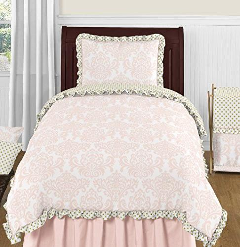 Luxury Pink And White Damask Gold Polka Dot Twin Bedding Set