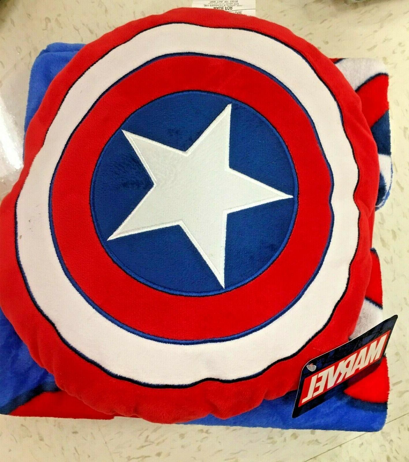 Marvel America Nogginz Blanket Pillow Set