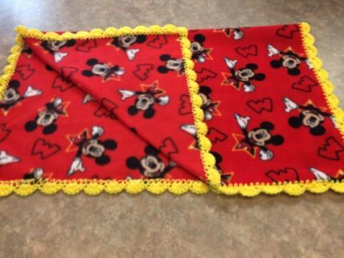 Mickey Mouse Baby -Toddler Blanket Fleece Trim Handmade