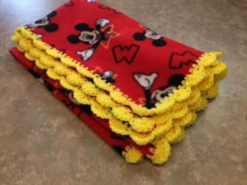 Mickey Blanket Fleece Crochet Handmade Nursery Bedding