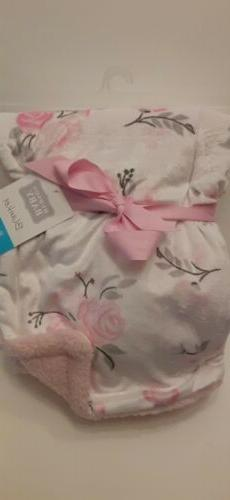 Hudson Baby Mink Blanket with Sherpa Backing, Pink Floral, O