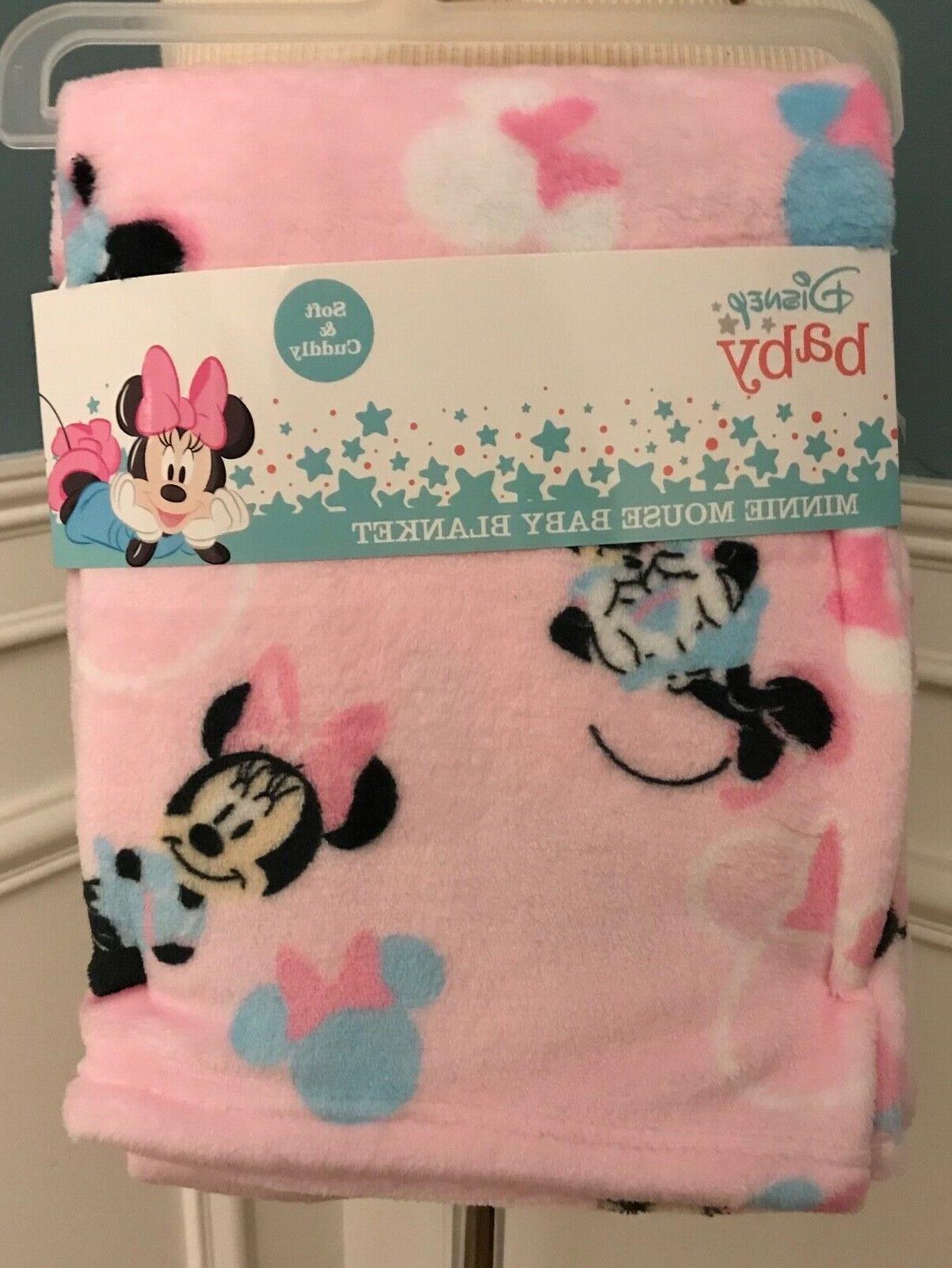 """DISNEY BABY Minnie Mouse PINK PRINT BABY BLANKET 40"""" X 30"""" N"""