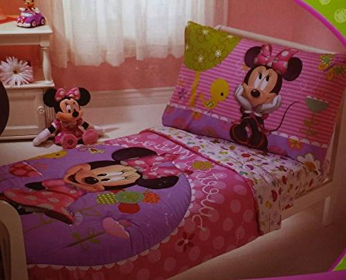 Disney Minnie Mouse 4 Piece Toddler Bedding Bed Set