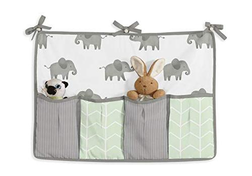 Sweet Mint, Grey Elephant Safari Baby Crib Bedding Bumper 9