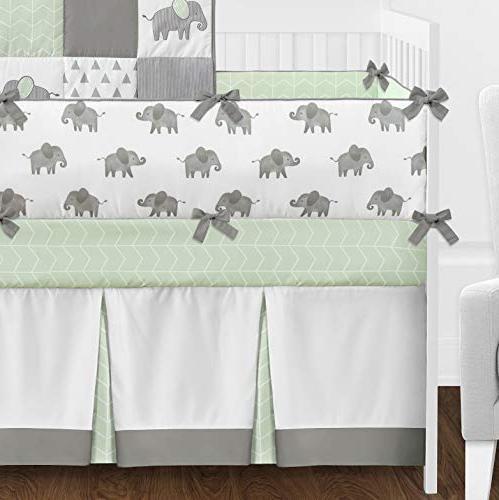 Sweet Grey Elephant Baby Crib Bedding
