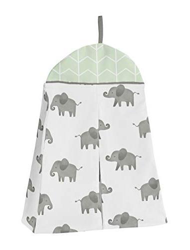 Sweet Jojo Grey and White Elephant Safari Unisex Crib Bedding Bumper - Pieces