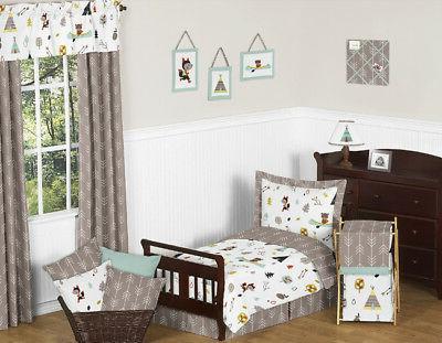 Sweet Jojo Designs Modern Blue Gray Fox Bear Boy Toddler Kid