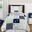 Sweet Jojo Designs Modern Blue White Gray Woodland Children