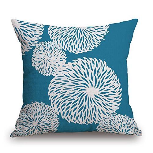 BLUETTEK Style Cotton Burlap Square Pillow Covers, x 18