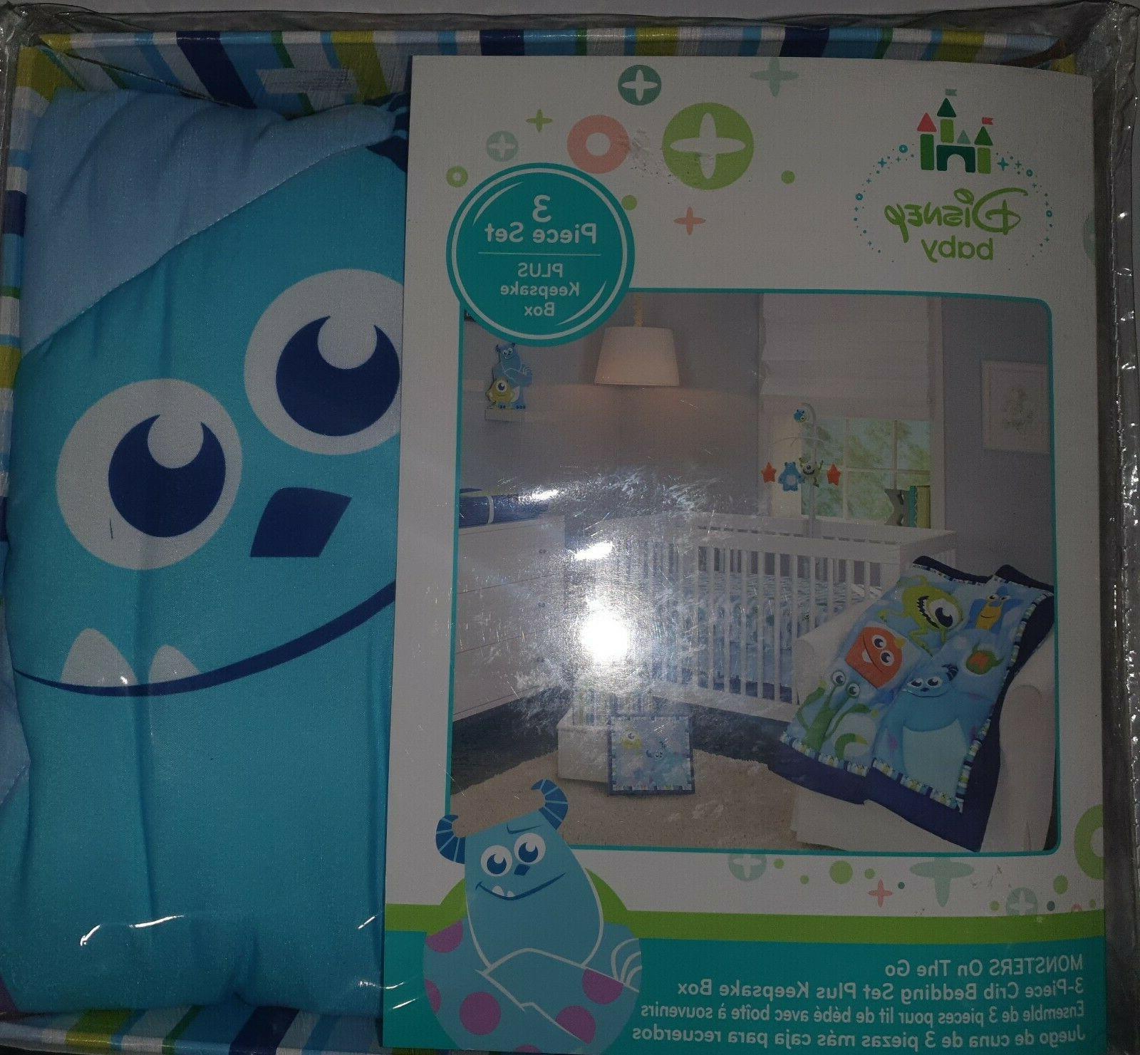 Disney Baby Monsters On the Go 3pc Blue Crib Bedding Set + K