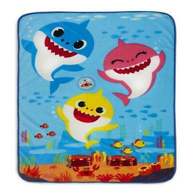 Baby Shark Musical Toddler Blanket Baby Shark Song 100% Poly