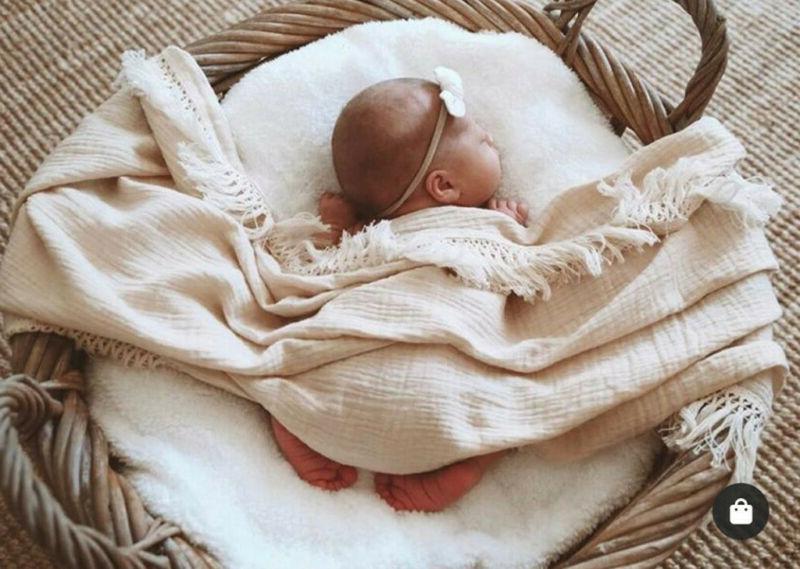 Muslin Kid Solid Tassels Baby Swaddle Sleeping Receiving