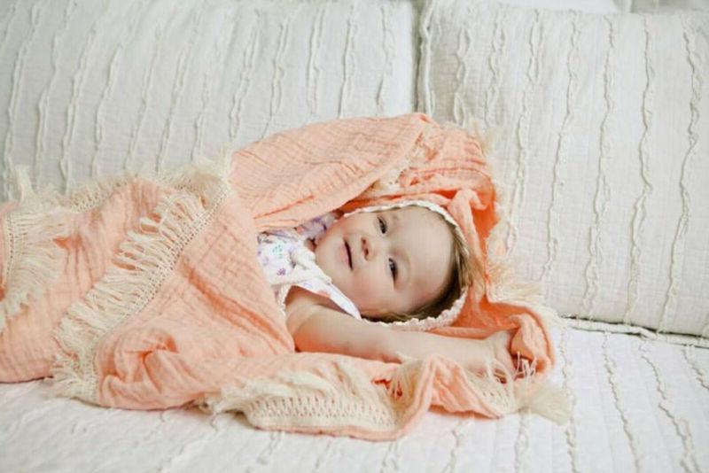 Muslin Newborn Tassels Baby Swaddle Blanket Sleeping Receiving