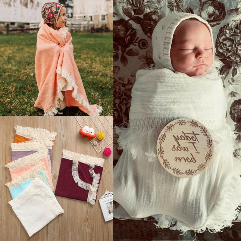 muslin newborn kid solid tassels baby swaddle