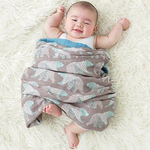 "LifeTree Muslin Toddler Blankets for Boys or Girls - 2 Baby Stroller - Large 45"" Bear Print Bamboo Blanket"