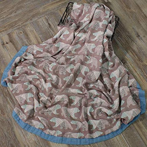 LifeTree Muslin for Girls - Layers Baby Large x Bear Print Bamboo Blanket