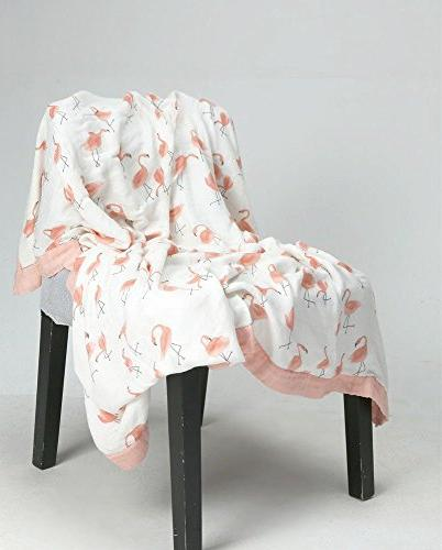 "Flamingo Baby Bamboo - Oversized x 47"" - Layers Muslin Toddler Baby"