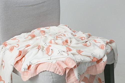 """Flamingo Bamboo Muslin Stroller - x 47"""" - Muslin Blankets Baby Girl"""