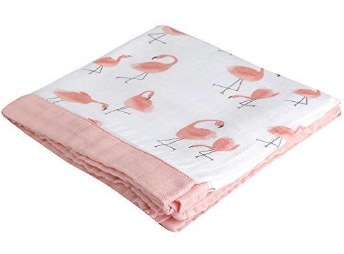 "Flamingo Blanket - Bamboo Muslin Stroller Blanket 47"" - 2 Muslin Toddler Baby"