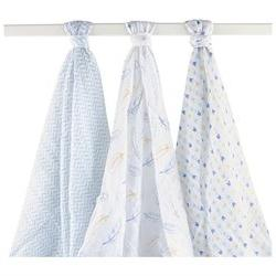 Hudson Baby 3 Pack Muslin Swaddle Blankets - Blue Feather