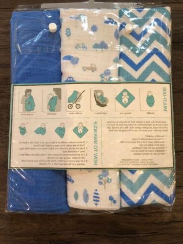 Lollypop Muslin Swaddle Blankets Set Of 3 Boys