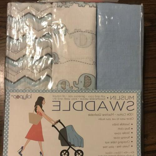 new 3 muslin swaddle blankets baby shower