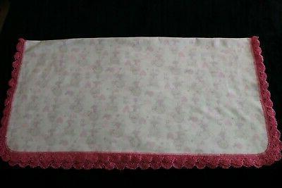 New Baby Receiving Blanket Crochet Edge BALLERINAS PINK