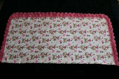 New Baby Shower Receiving Blanket Crochet Edge PINK