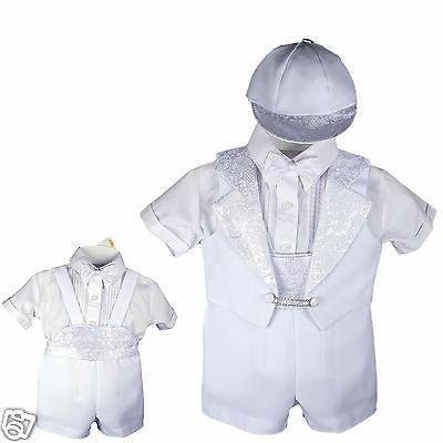 New Born Baby Infant Baptism Tuxedo Suit White