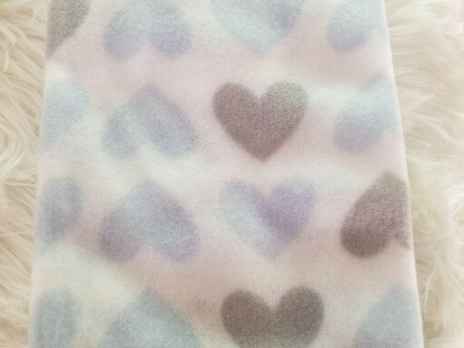 Fleece Blanket - Hearts, Gray Animals