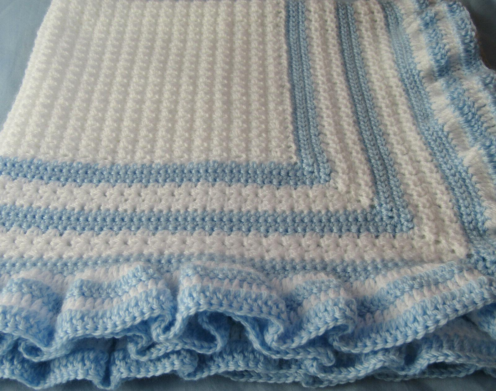 New Blanket Christening White Blue