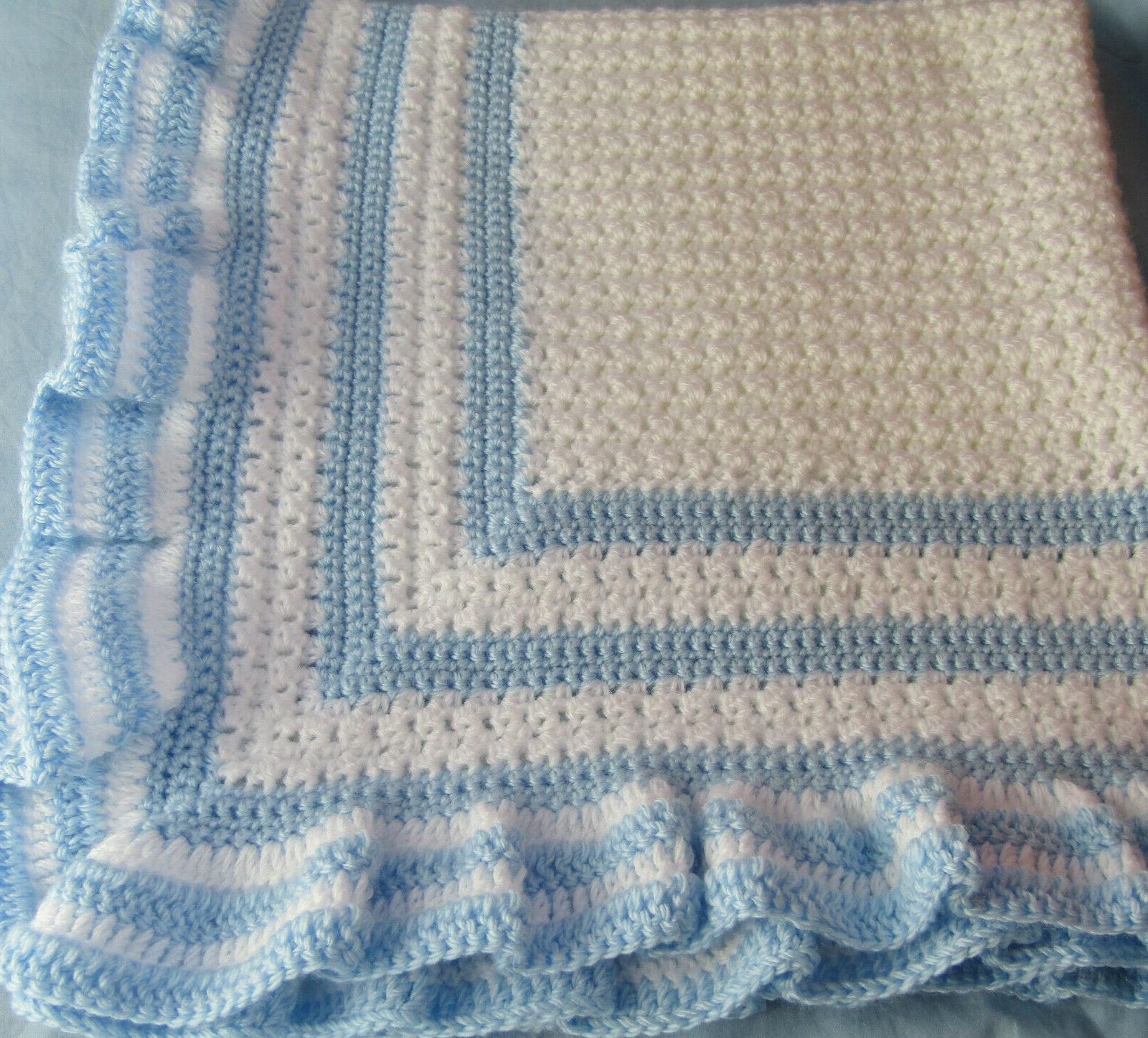 new handmade crochet baby blanket christening white
