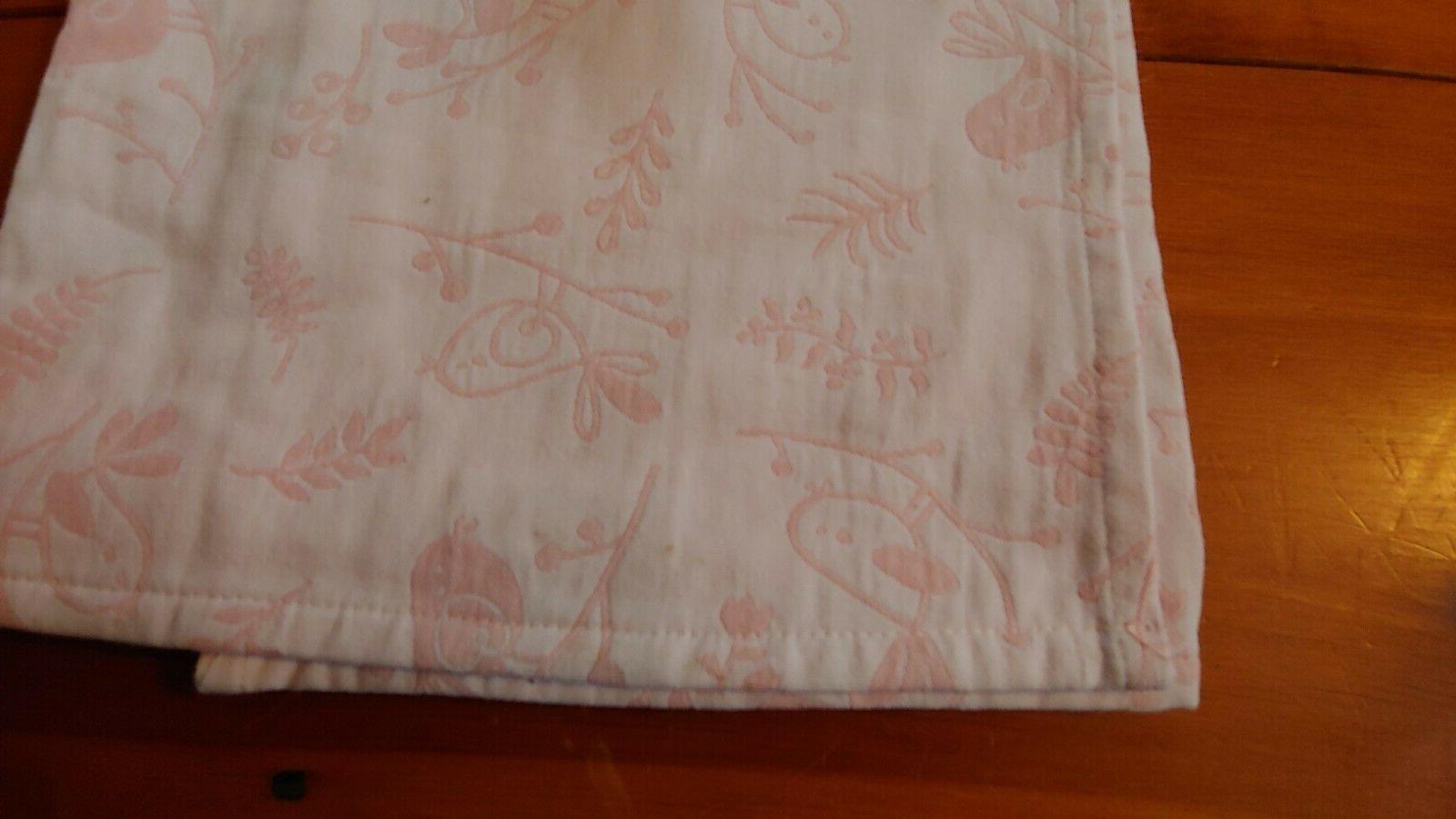 "NEW Baby Blanket Pink Birds Cotton 30"" x 40"""