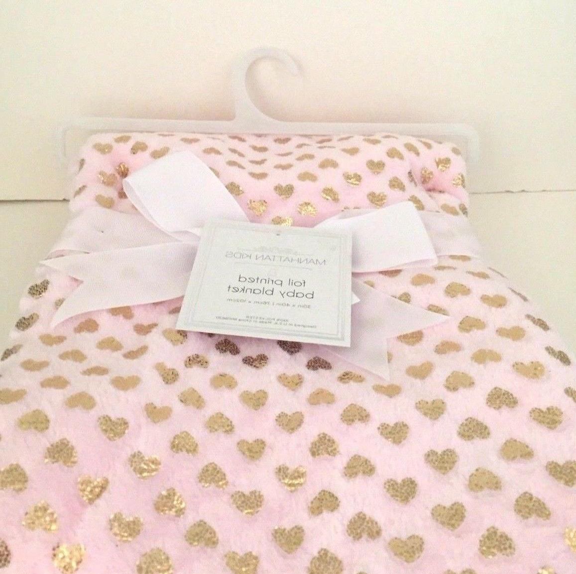 new pink soft baby blanket metallic foil