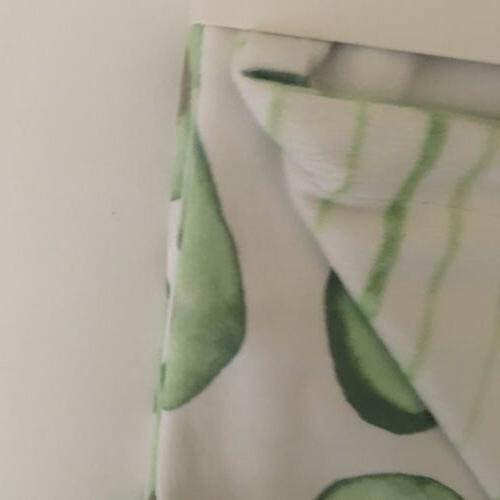 NEW Reversible White Green Avocados Striped Print