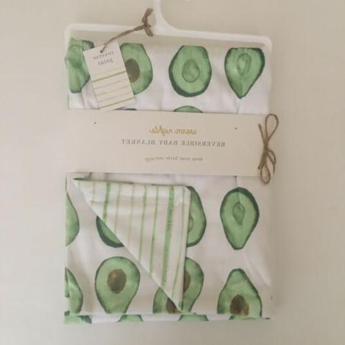 new reversible baby blanket white green avocados
