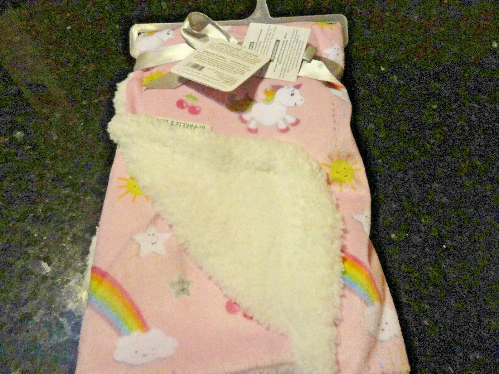 new super soft~PLUSH RAINBOWS~UNICORNS Baby's~Reversible~BLANKET