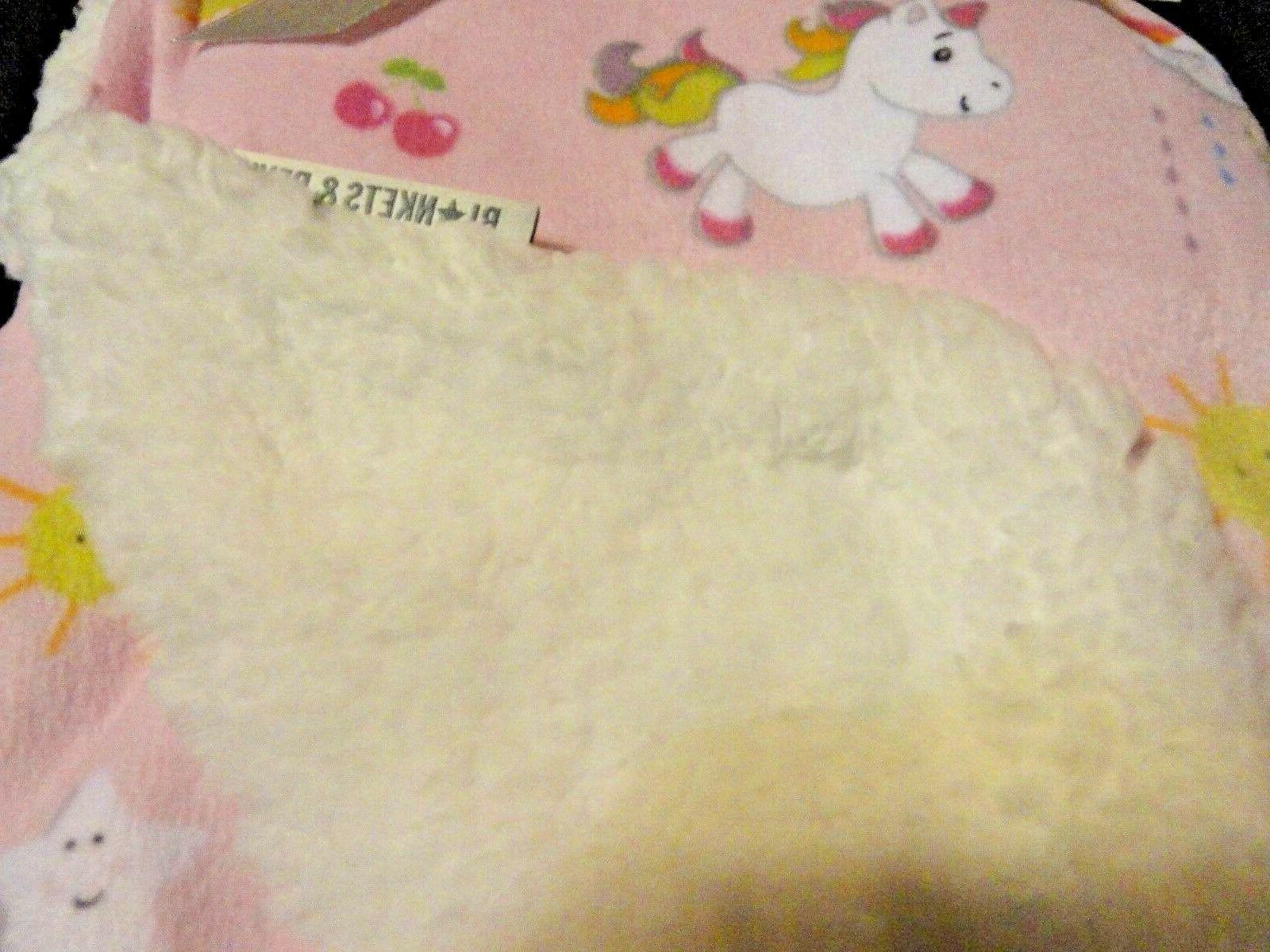 "RAINBOWS~UNICORNS Baby's~Reversible~BLANKET 28"" 32"""