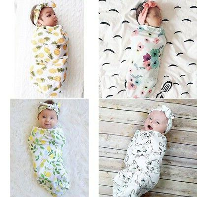Infant Deer Blanket Warm Muslin Wrap+Headband Set