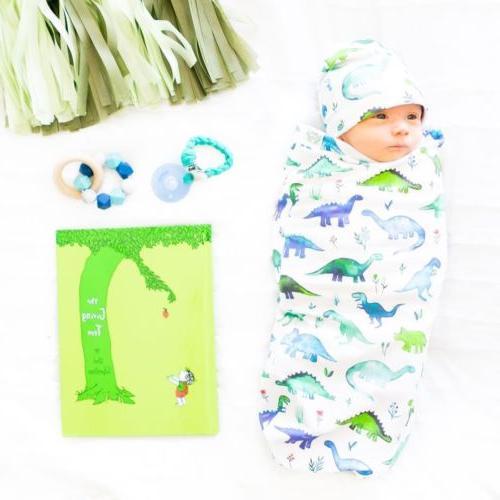 Canis Newborn Swaddle Blanket Muslin Wrap+Hat 2pcs