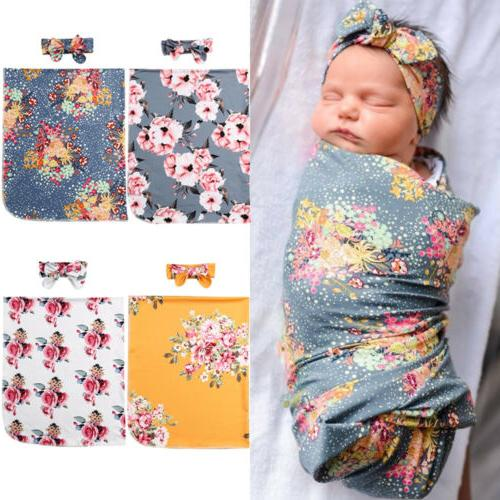 Flower Newborn Baby Girl Swaddle Wrap Blanket Sleeping Bag+H