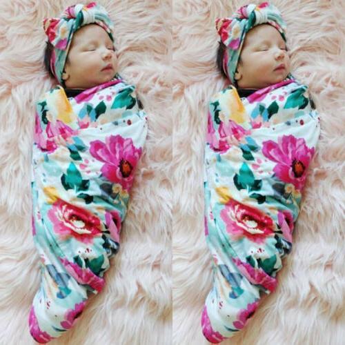 Newborn Girl Floral Swaddle Sleeping Bag+Headband Set