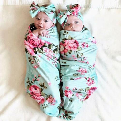 Newborn Girl Swaddle Sleeping Bag+Headband