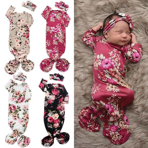 US Cute Baby Flower Wrap Long Sleeve