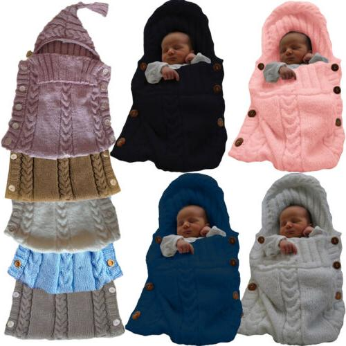 Newborn Knit Blanket Swaddle Swaddling Sleeping Bag