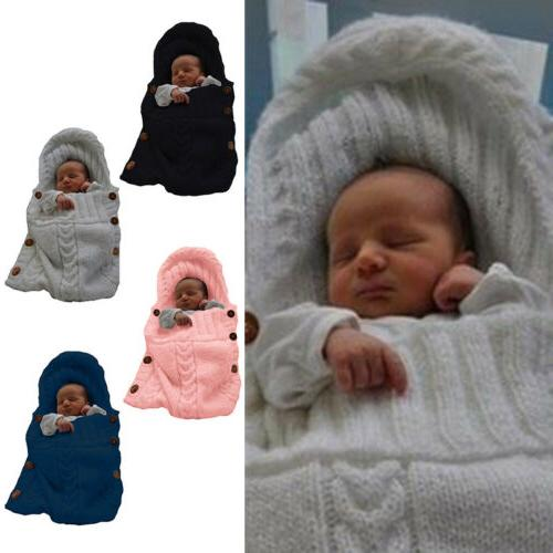 Newborn Infant Cable Knit Wrap Swaddling