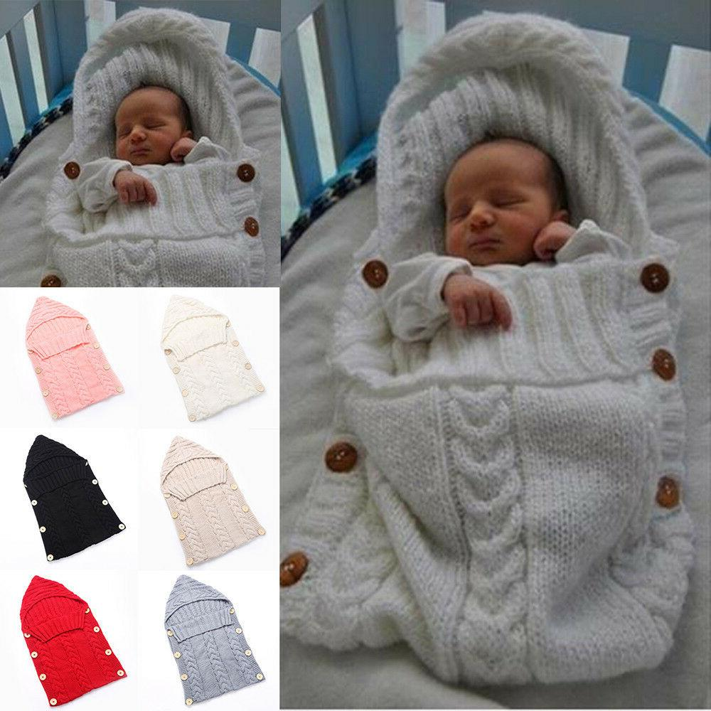 Newborn Infant Cable Knit Wrap Swaddling Sleeping Bag