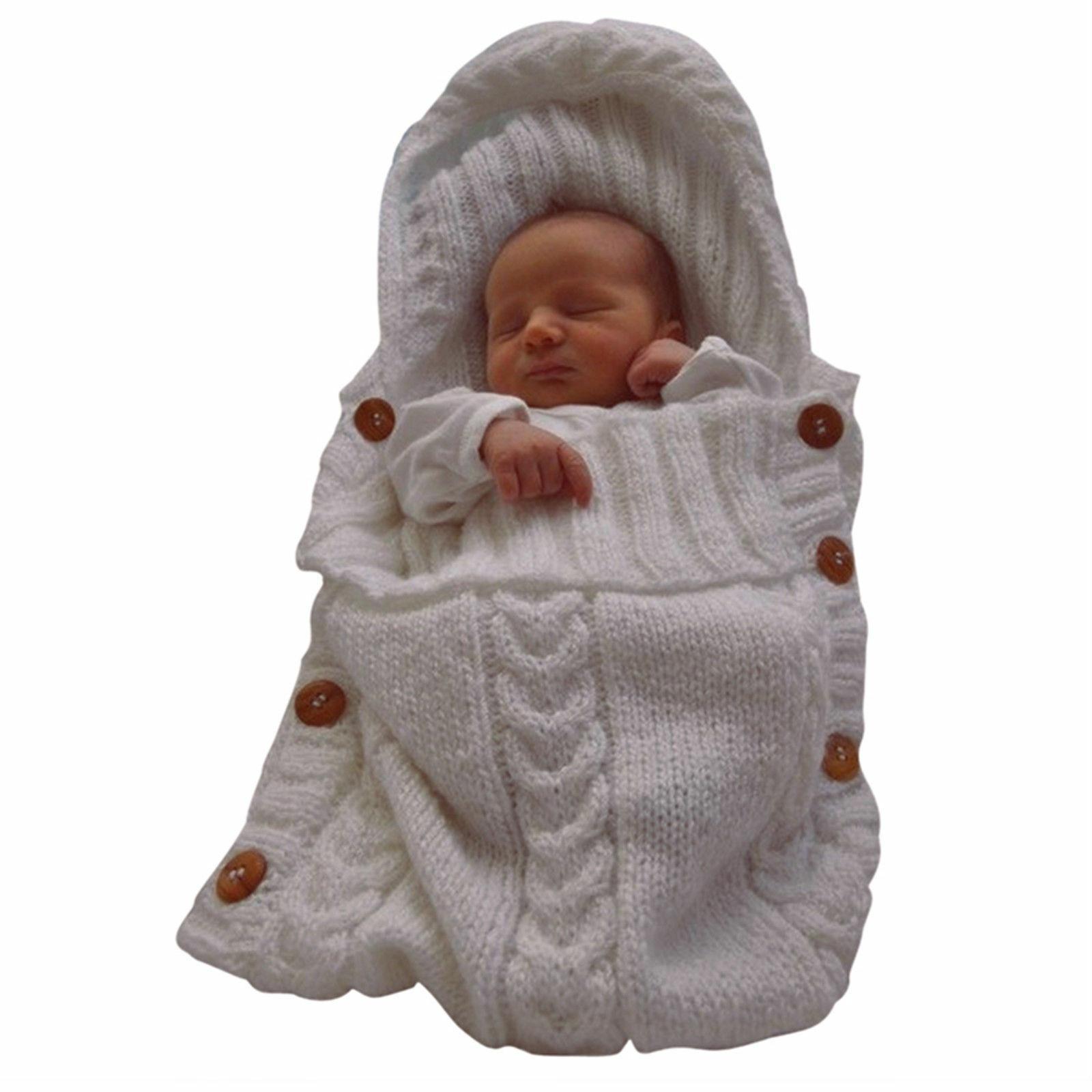 Newborn Baby Infant Knit Crochet Swaddle Blanket Bag
